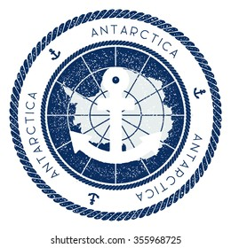 Nautical Rubber Stamp with Antarctica Flag and Anchor. Marine rubber stamp, with round rope border and anchor symbol on flag background. Vector illustration