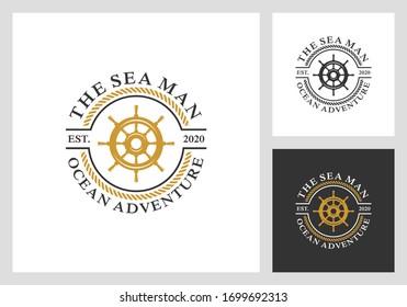 nautical, sail, marine, adventure logo design in vintage style