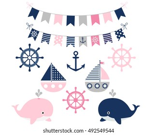Nautical sailing girl set with whales, boats, anchor, buntings, wheel