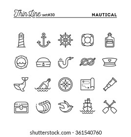 Nautical, sailing, sea animals, marine and more, thin line icons set, vector illustration