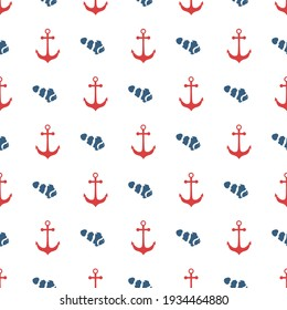 Nautical, sailing seamless pattern with red anchor and navy blue fish