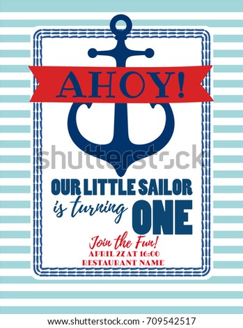 Nautical Sailor Theme Printable Baby Birthday Party Invite Red Blue White Colors