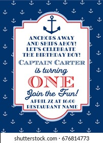 Nautical Sailor Theme Printable First Birthday Party Invite - Red, Blue & White Colors. Sea Theme Vector Template Invitation With Anchor.