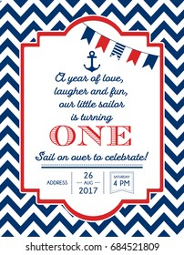 Nautical Sailor Theme Printable First Birthday Party Invite for Boy - Red, Blue & White Colors. Sea Theme Vector Template Invitation With Anchor.