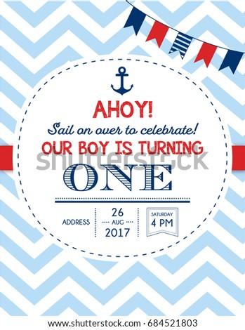 Nautical Sailor Theme Printable First Birthday Party Invite For Boy