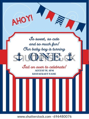 Nautical Sailor Theme Printable First Birthday Party Invite For Boy