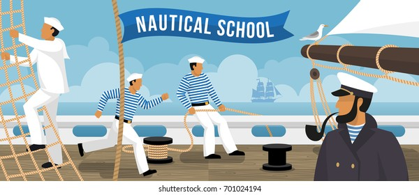 Nautical school on board sailing ship sailors training  flat advertisement poster with smoking pipe captain vector illustration