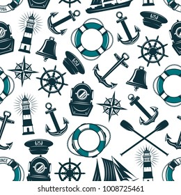 Nautical seafarer seamless pattern. Vector design of ship anchor, helm or life buoy and