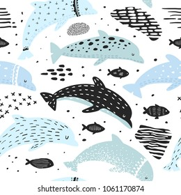 Nautical Seamless Pattern with Dolphins in Childish Style. Sea Underwater Creatures Background with Abstract Elements for Decoration. Vector illustration