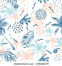 Nautical seamless pattern. Hand drawn abstract summer beach background: palm trees, palm leaves, nautilus seashell, fish, starfish. Vector illustration