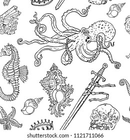 Nautical seamless pattern: octopus, shell, starfish, drowned sword, crown, skull, crystal, sea horse. Hand drawn vintage tattoo engraving style illustration. Underwater, fantasy, boho, kids, coloring.
