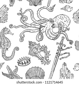 Nautical seamless pattern: octopus, shell, starfish, drowned sword, crown, crystals, sea horse. Hand drawn vintage tattoo engraving style vector illustration. Nature, underwater, boho, kids, coloring.