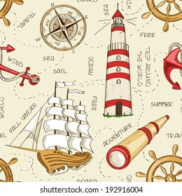 Nautical seamless pattern of sailboat, anchor, wheel, spyglass, lighthouse and compass