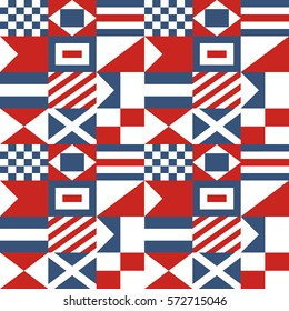 Nautical Seamless Pattern stylized as Composition of International Maritime Signal Flags