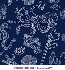 Nautical seamless pattern white on blue: octopus, shell, starfish, drowned sword, crown, crystals, sea horse. Hand drawn vintage tattoo engraving style vector illustration. Nature, fantasy, kids.