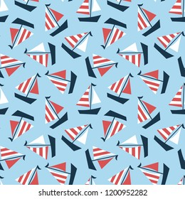 Nautical seamless patterns, yacht silhouette on wave, travel adventure vector illustration