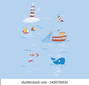 Nautical seamless print with lighthouse in cartoon vector style.kids print