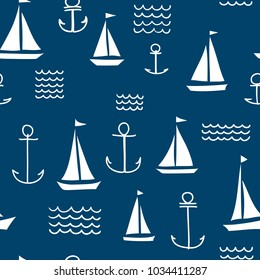 Nautical Seamless Vector Pattern with Hand Drawn Sailing Boats, Anchors and Waves