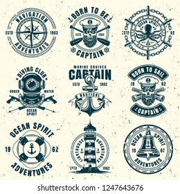 Nautical set of nine vector emblems, labels, badges or logos in vintage monochrome style isolated on background with removable grunge textures