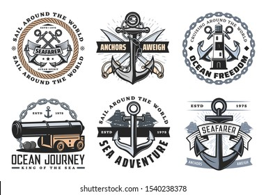 Nautical ship icons, ocean spirit and anchors aweigh quotes. Vector marine heraldic symbols of frigate cannon and crossed pirate swords, boat anchor rope and lighthouse, ocean adventure