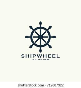 nautical ship wheel design logo template