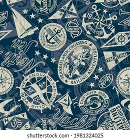 Nautical style marine sailing badges wallpaper vector seamless pattern grunge effect in separate layer