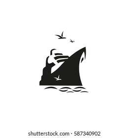 Nautical symbol concept. Ocean liner icon. Freehand brush style. Monochrome black white colors. Maritime sea cruise ship vessel tour emblem. Vector seashore journey background. Marine logo template