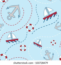 Nautical themed seamless pattern