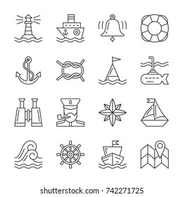 Nautical thin line icon set. Marine linear symbol pack. Outline navigation, captain, accessories of navy, ship sign. Editable stroke simple flat design sea travel vector illustration isolated on white