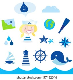 Nautical, transportation and water icons. Vector Illustration.