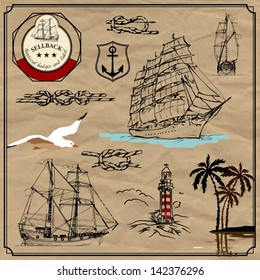 Nautical useful design elements. Vector set. Plus the old paper background