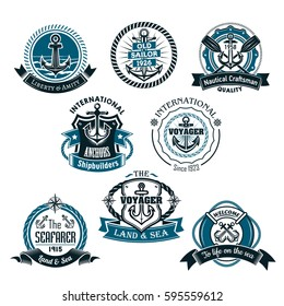 Nautical vector icons of marine ship anchor and helm, sailor compass or lifebuoy and sea waves. Heraldic emblems, ribbons and badges of seafarer or voyager, vessel craftsman or shipbuilder company