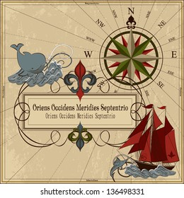 Nautical vector illustration Old geographical map with wind-rose, ships, whale, sword fish, island and chest with treasure