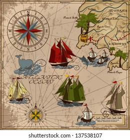 Nautical vector illustration with wind-rose, ships, fishing boat, whale, sword fish, treasure Card Retro art Old map