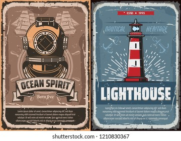 Nautical vintage compass rose, anchor and helm, old ship, sail boat and steering wheel, retro lighthouse and antique diver helmet. Sea travel, ocean cruise and marine adventure vector poster design