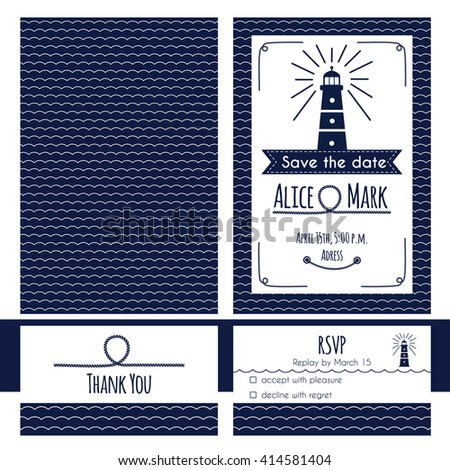Nautical Wedding Invitation Rsvp Card Template Stock Vector Royalty