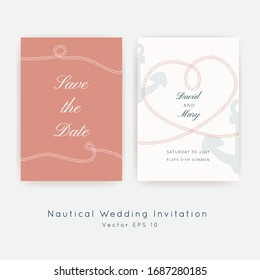Nautical Wedding vector template.Boat sailor theme.Invitation in Classic vintage style.Elegant sea invite card overlay  in white, coral and navy blue colors.