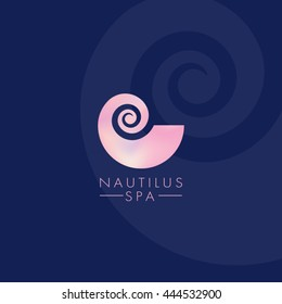 Nautilus nacre. Spiral. Shell. Spa logo.