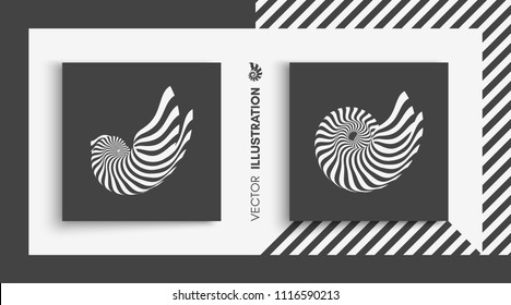 Nautilus shell. Abstract design element. 3D vector illustration.