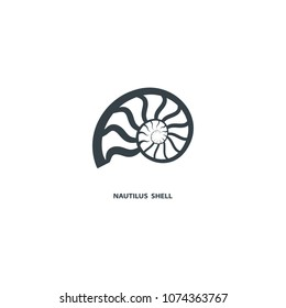 Nautilus shell icon, isolated on white background. Logo for your project. Vector illustration.