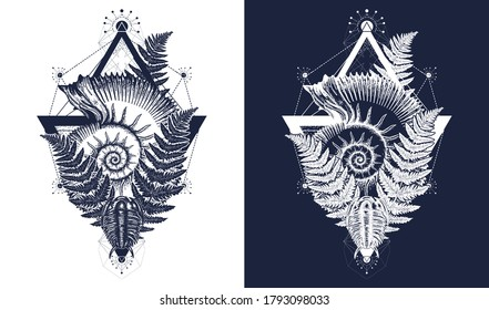 Nautilus shell prehistoric tattoo art. Ancient ammonite in the triangle t-shirt design. Ancient fossils, symbol of paleontology, science, education. Trilobites and fern. Black and white vector graphic