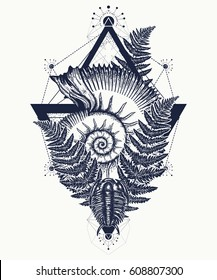Nautilus shell prehistoric tattoo art. Ancient ammonite in the triangle t-shirt design. Ancient fossils, symbol of paleontology, science, education. Trilobites, ammonite and fern