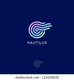 Nautilus Spa logo. Decorative element like Nautilus spiral shell. Spa and resort emblem.
