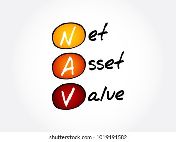 NAV - Net Asset Value acronym, business concept background