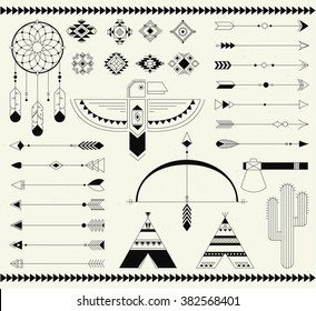 Navajo American isolated elements. Vector collection tribal print elements. Aztec logos and badges., Indian, Aztec illustration.