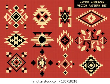 Navajo - Native American vector pattern on red board