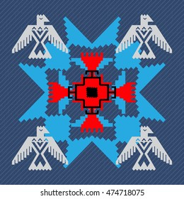 Navajo style design with eagles. Blue denim background