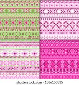 Navajo tribal ethnic motifs geometric patterns set. Abstract tribal motifs clothing fabric textile ethno prints traditional design. South american folk fashion prints.