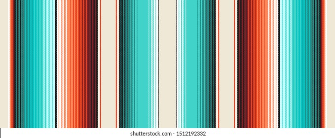 Navajo White, Turquoise  Orange Mexican Blanket Serape Stripes Seamless Vector Pattern. Rug Texture with Threads. Native American Textile. Ethnic Hipster Boho Background. Pattern Tile Swatch Included