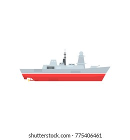 Naval armed ship with radar and antenna. Military boat with big cannon. Large army ship. Side view. Flat vector design for sticker, poster, mobile app